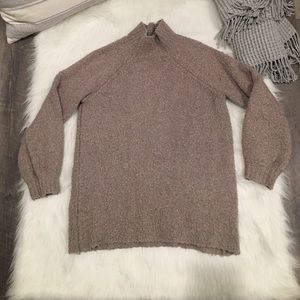 Aerie Small Tan Fuzzy Mock Neck Pullover Sweater